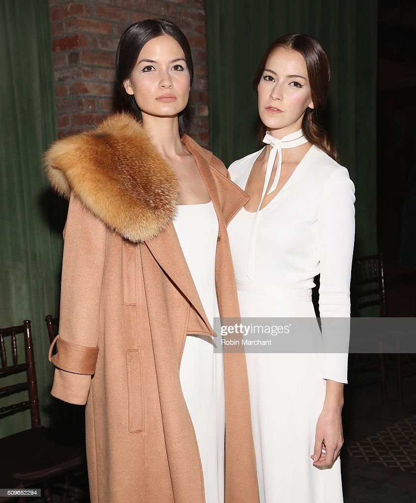Models pose backstage at Katie Ermilio presentation during Fall 2016 New York Fashion Week: The Shows at Bowery Hotel Rooftop on February 11, 2016 in New York City.