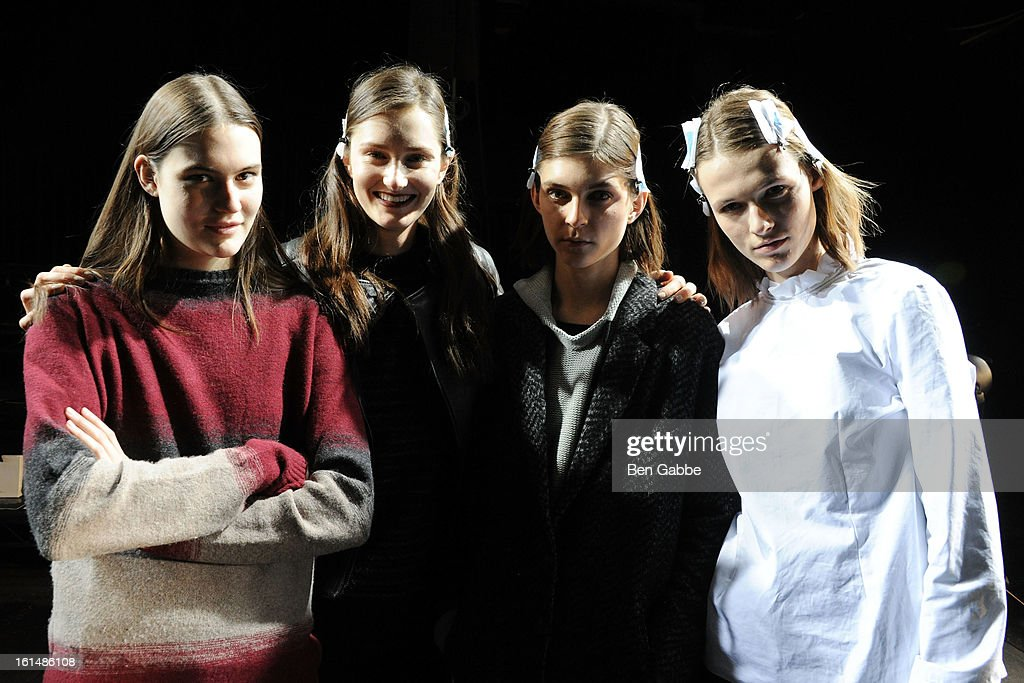 Models pose backstage at the 3.1 Phillip Lim fall 2013 fashion show during Mercedes-Benz Fashion Week on February 11, 2013 in New York City.