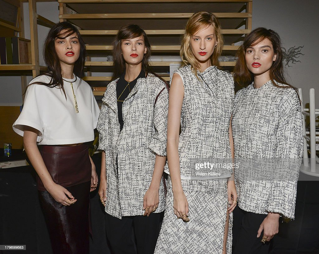 Models pose backstage at the Chadwick Bell fashion show during Mercedes-Benz Fashion Week Spring 2014 at Hosfelt Gallery on September 6, 2013 in New York City.