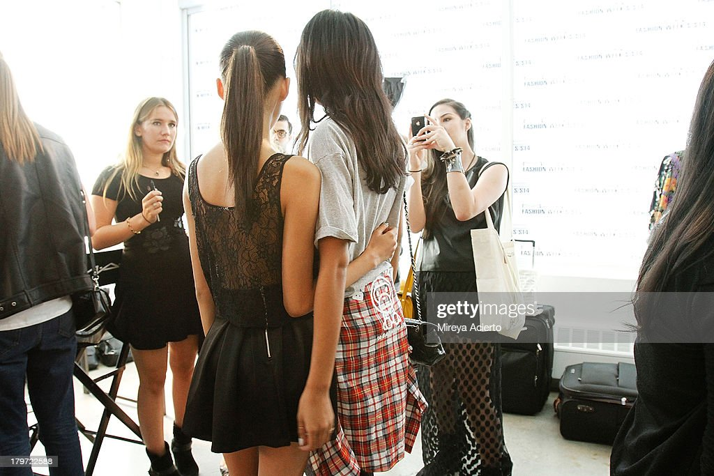 Models pose backstage at the Cushnie Et Ochs fashion show during MADE Fashion Week Spring 2014 at Milk Studios on September 6, 2013 in New York City.