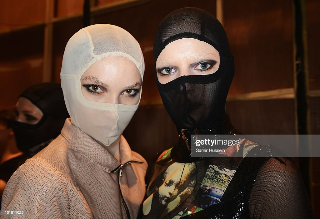 Models pose backstage at the Dans La Vie show during London Fashion Week Fall/Winter 2013/14 at Freemasons Hall on February 16, 2013 in London, England.