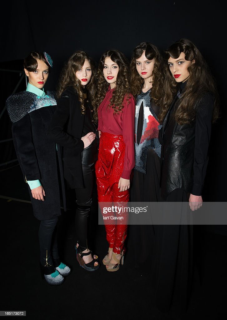 Models pose backstage at the Domus Academy Collective Show during Mercedes-Benz Fashion Week Russia Fall/Winter 2013/2014 at Manege on April 1, 2013 in Moscow, Russia.