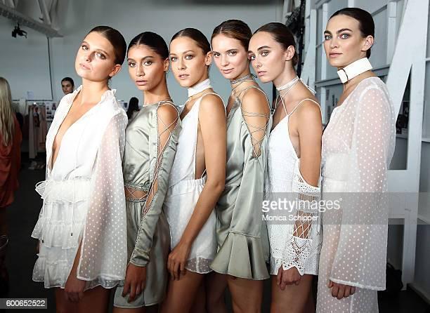 Models pose backstage at the Fashion Palette Australian Swim/Resort fashion show during New York Fashion Week September 2016 at Pier 59 Studios on...