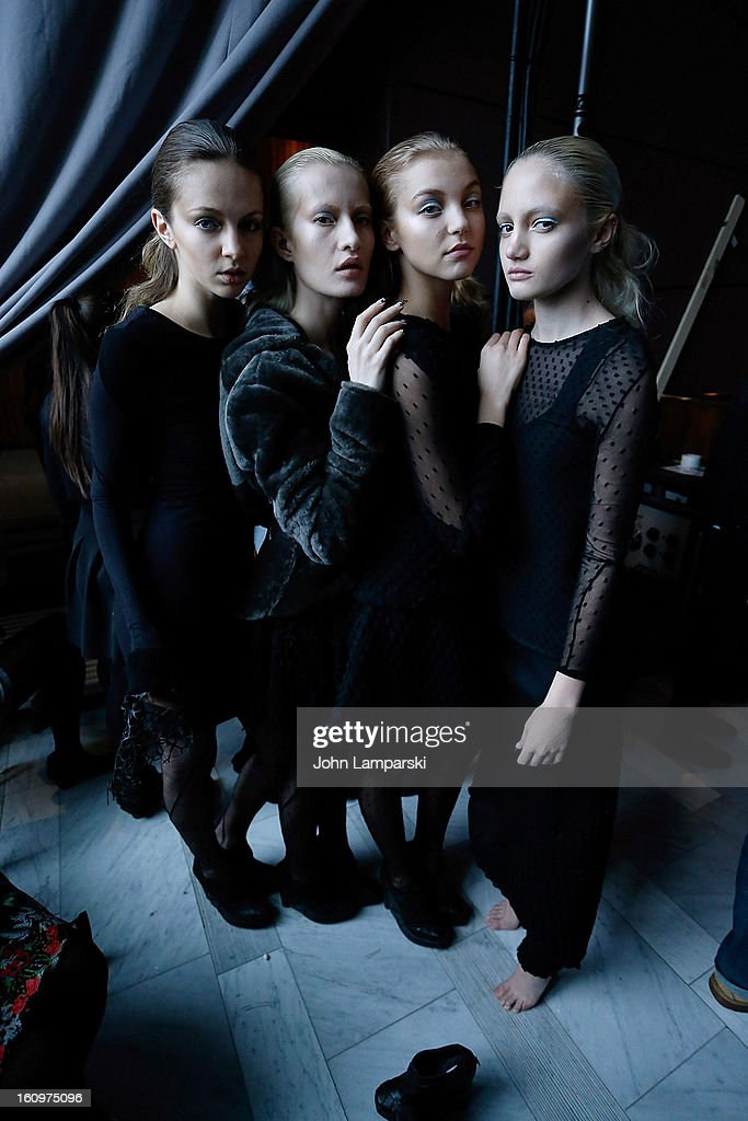 Models pose backstage at the Katie Gallagher Presentation during Fall 2013 Mercedes-Benz Fashion Week at The Standard Hotel on February 8, 2013 in New York City.