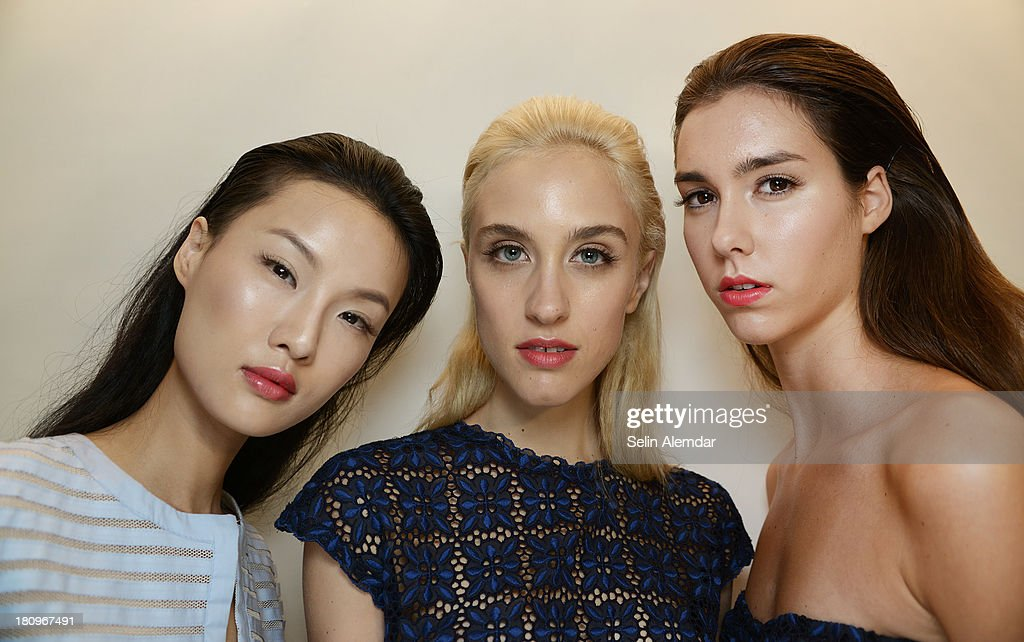 Models pose backstage at the Luisa Beccaria show as part of Milan Fashion Week Womenswear Spring/Summer 2014 on September 18, 2013 in Milan, Italy.