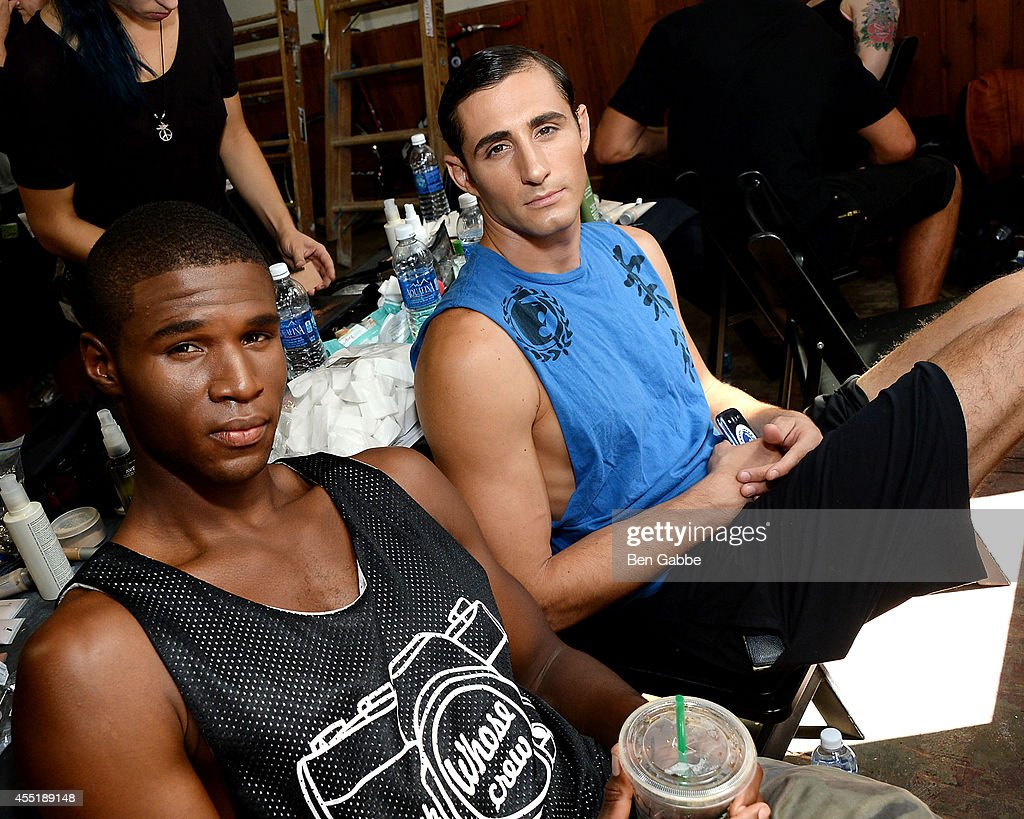 Models pose backstage at the Marlon Gobel Fashion Show during MercedesBenz Fashion Week Spring 2015 at Park Avenue Armory on September 10 2014 in New...