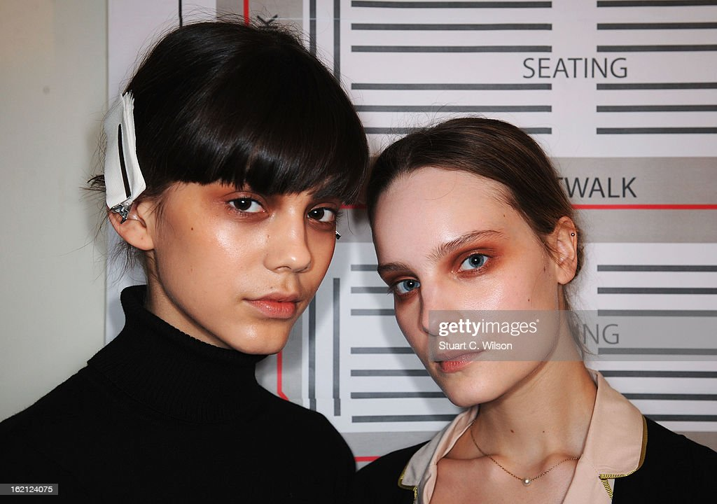 Models pose backstage at the Roksanda Ilincic show during London Fashion Week Fall/Winter 2013/14 at The Savoy on February 19, 2013 in London, England.