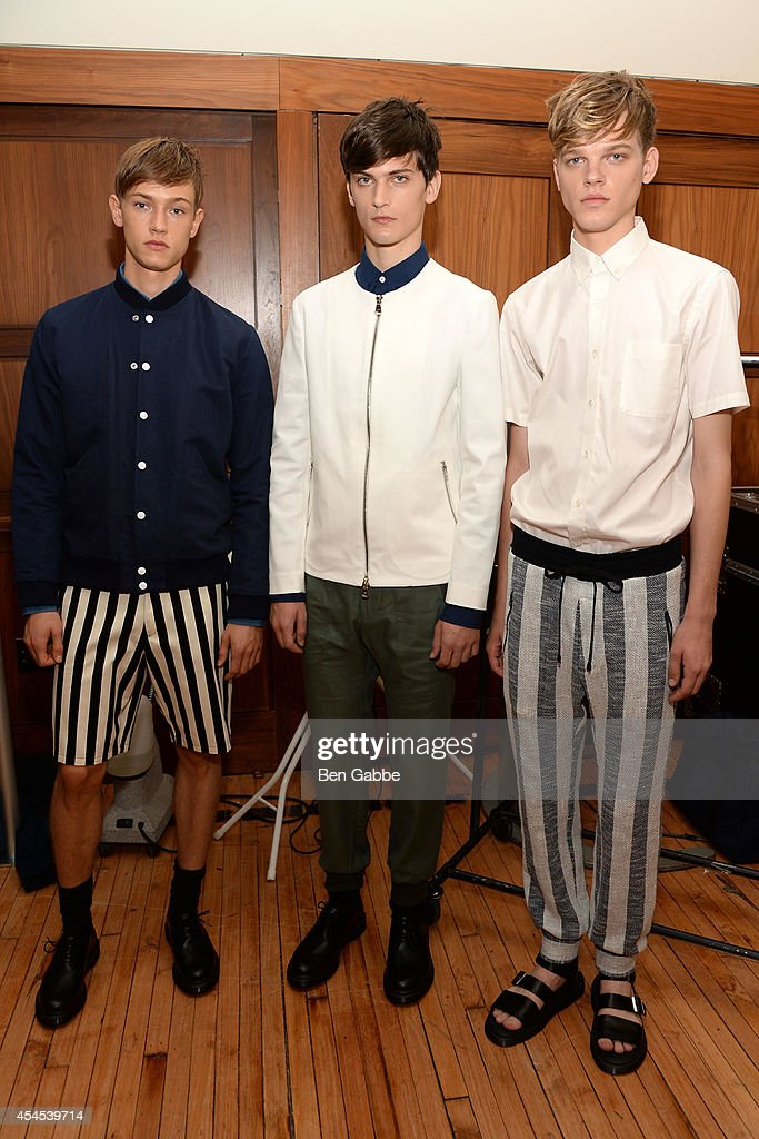 Models pose backstage at Timo Weiland Men's during Mercedes-Benz Fashion Week Spring 2015 at The Highline Hotel on September 3, 2014 in New York City.