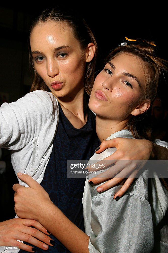 Models pose backstage before the Ksubi show on day four of Rosemount Australian Fashion Week Spring/Summer 2007/08 at the Cargo Hall in the Overseas...