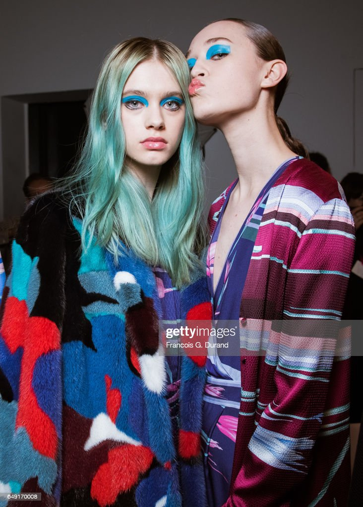 Models pose backstage before the Leonard Paris show as part of the Paris Fashion Week Womenswear Fall/Winter 2017/2018 on March 6, 2017 in Paris, France.