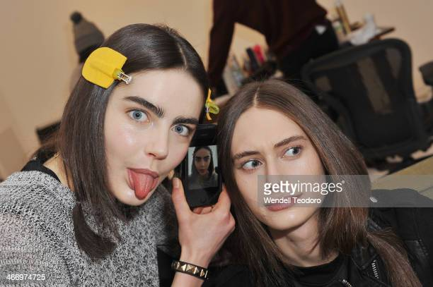 Models pose backstage before the Organic By John Patrick show during MercedesBenz Fashion Week Fall 2014 at 245 West 29th Street on February 5 2014...