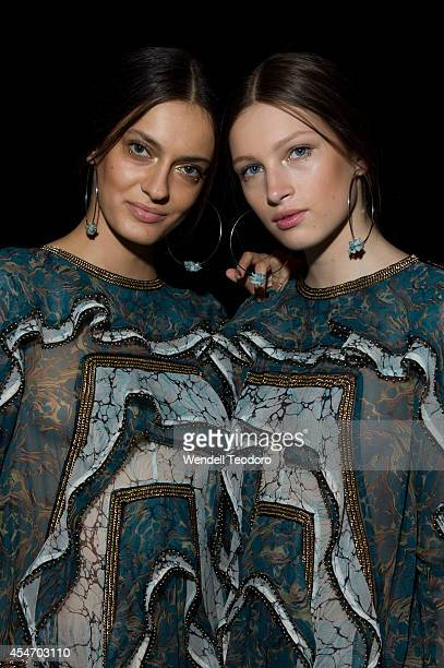 Models pose backstage before the Zimmermann show during MercedesBenz Fashion Week Spring 2015 at The Pavilion at Lincoln Center on September 5 2014...