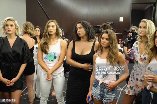 Models pose backstage during SWIMMIAMI Sports Illustrated Swimsuit 2018 Collection at WET Deck at W South Beach on July 22 2017 in Miami Beach Florida