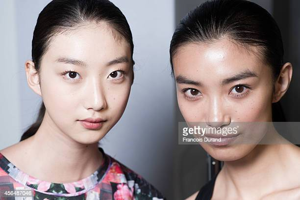 Models pose backstage prior the Allude show as part of the Paris Fashion Week Womenswear Spring/Summer 2015 on October 1 2014 in Paris France