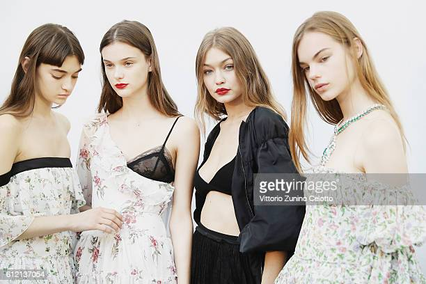 Models pose backstage prior the Giambattista Valli show as part of the Paris Fashion Week Womenswear Spring/Summer 2017 on October 3 2016 in Paris...