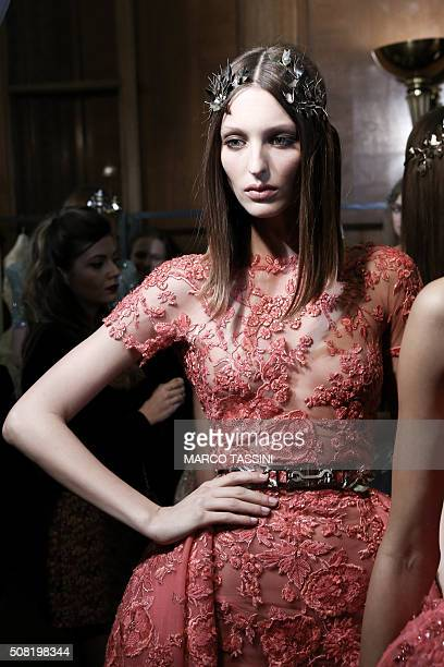 Models pose Backstage prior the Zuhair Murad Spring Summer 2016 show as part of Paris Fashion Week on January 27 2016 in Paris France