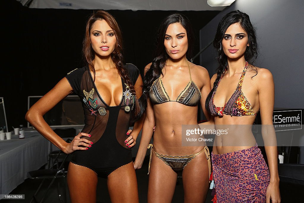 Models pose backstage prior to Agua Bendita runway during the third day of Mercedes-Benz Fashion Week Mexico Spring/Summer 2013 at Carpa Santa Fe on November 14, 2012 in Mexico City, Mexico.