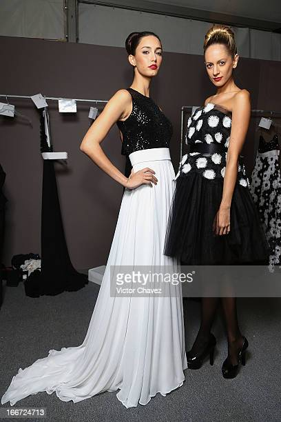 Models pose backstage prior to David Salomon runway during the first day of MercedesBenz Fashion Week Mexico Fall/Winter 2013 at Carpa Santa Fe on...
