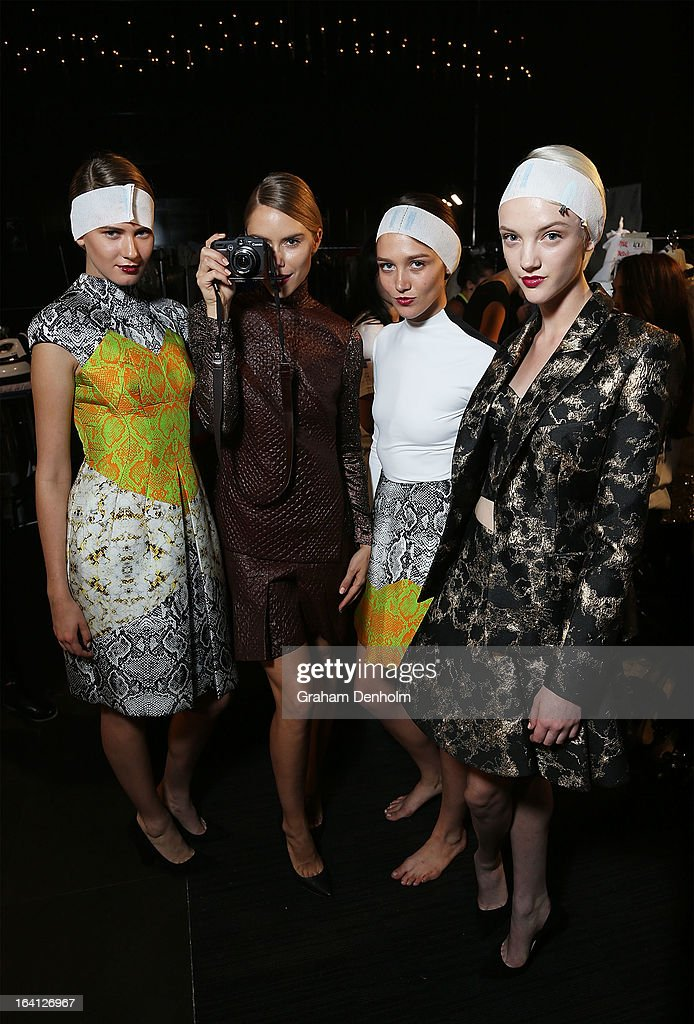 Models pose backstage prior to L'Oreal Paris Runway 1 during day three of L'Oreal Melbourne Fashion Festival at Docklands on March 19, 2013 in Melbourne, Australia.