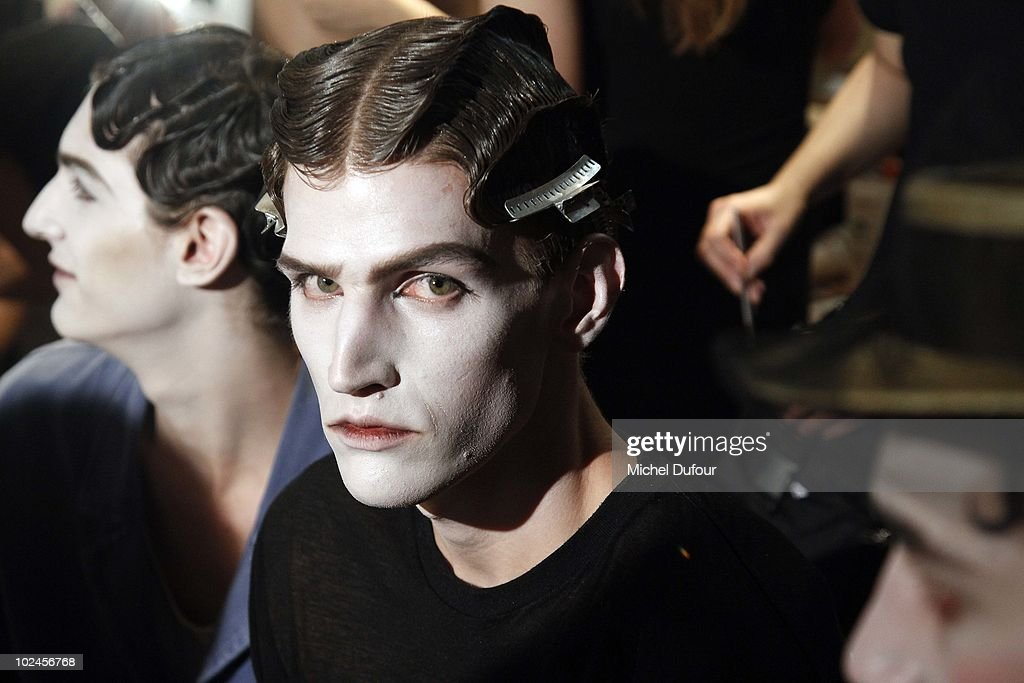 Models pose backstage prior to the John Galliano show as part of Paris Menswear Fashion Week Spring/Summer 2011 on June 25, 2010 in Paris, France.