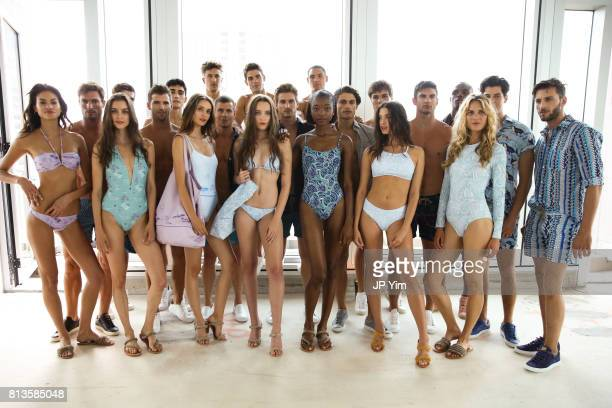 Models pose before the start of the Thorsun Men's and Women's Spring/Summer 2018 presentation on July 12 2017 in New York City
