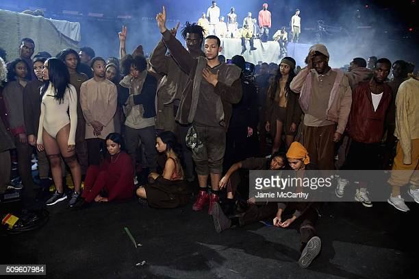 Models pose during Kanye West Yeezy Season 3 on February 11 2016 in New York City