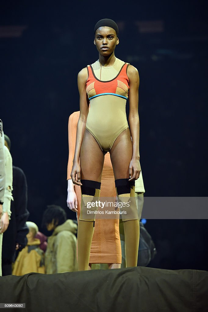 Models pose during Kanye West Yeezy Season 3 on February 11, 2016 in New York City.