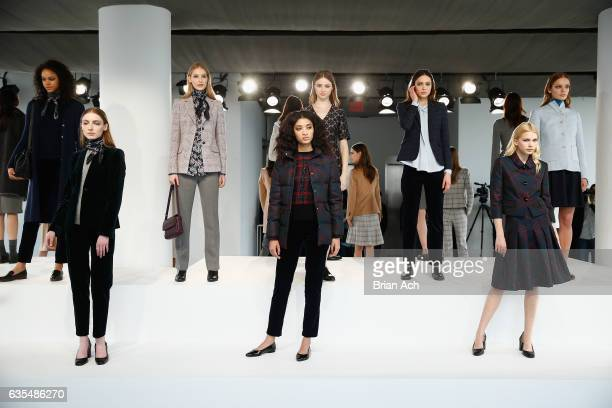 Models pose during the Brooks Brothers FW 2017 Presentation with Zac Posen at The Glasshouses on February 15 2017 in New York City