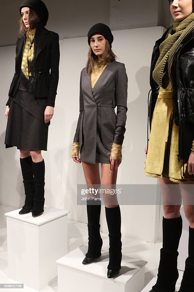 Models pose during the Hanley - Presentation at The Space, Skylight at Clarkson Sq on February 11, 2016 in New York City.