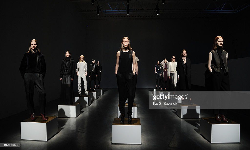Models pose during the J Brand fall 2013 presentation during Mercedes-Benz Fashion Week at the Swiss Institute on February 6, 2013 in New York City.