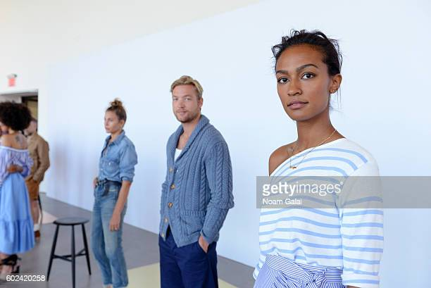 Models pose during the JCrew presentation during New York Fashion Week September 2016 at Spring Studios on September 11 2016 in New York City