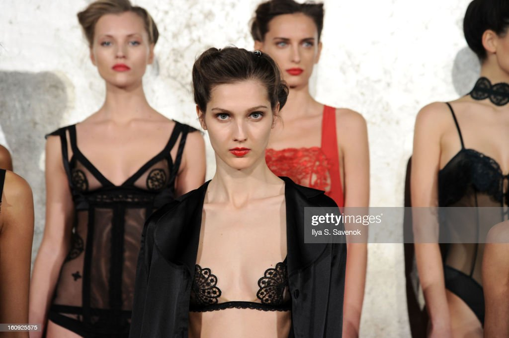 Models pose during the La Perla fall 2013 presentation during Mercedes-Benz Fashion Week at The Gallery at The Dream Downtown Hotel on February 7, 2013 in New York City.