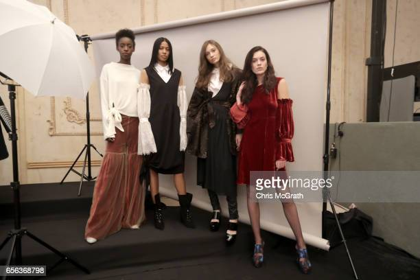 Models pose during the Mehtap Elaidi presentation during MercedesBenz Istanbul Fashion Week March 2017 at Grand Pera on March 22 2017 in Istanbul...