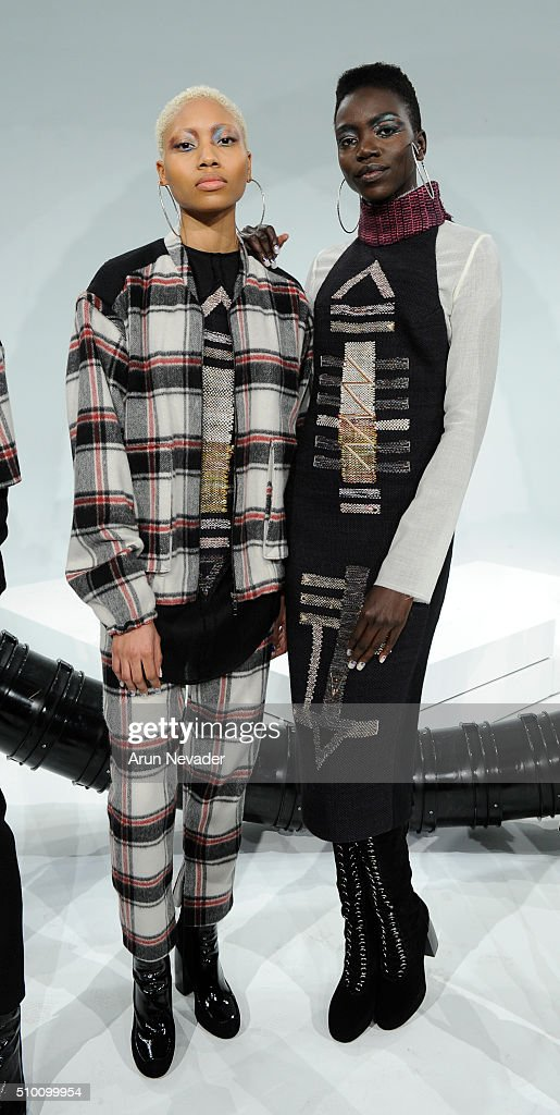 Models pose during the Michelle Helene Presentation at Pier 59 on February 13, 2016 in New York City.