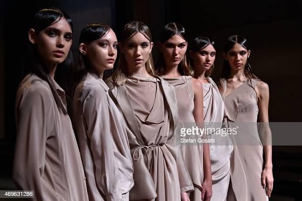 Models pose during the One Fell Swoop Installation show at MercedesBenz Fashion Week Australia 2015 at Carriageworks on April 14 2015 in Sydney...
