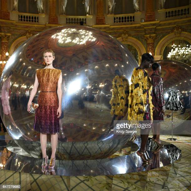 Models pose during the Paule Ka show as part of Paris Fashion Week Womenswear Fall/Winter 2017/2018 on February 28 2017 in Paris France