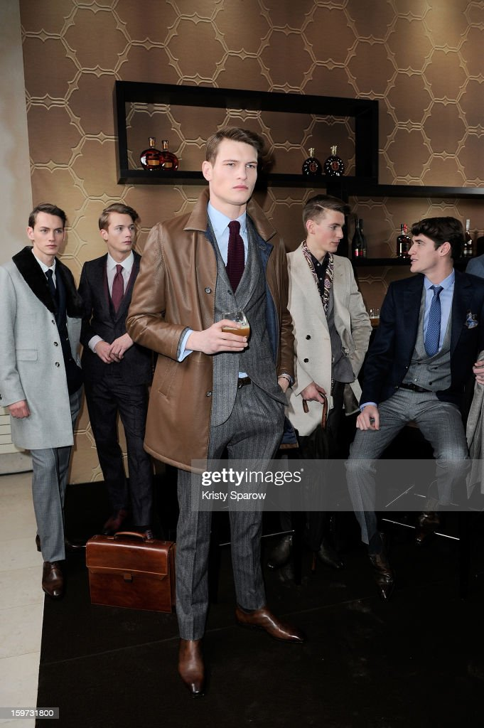 Models pose during the Smalto Menswear Autumn / Winter 2013/14 show as part of Paris Fashion Week on January 19, 2013 in Paris, France.