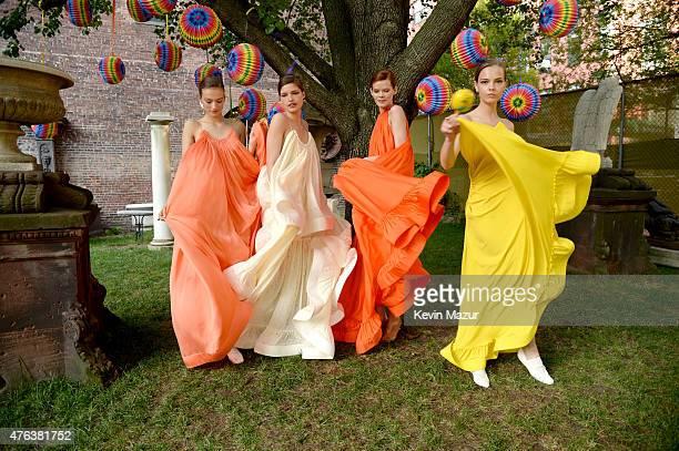 Models pose during the Stella McCartney Spring 2016 Resort Presentation on June 8 2015 in New York City