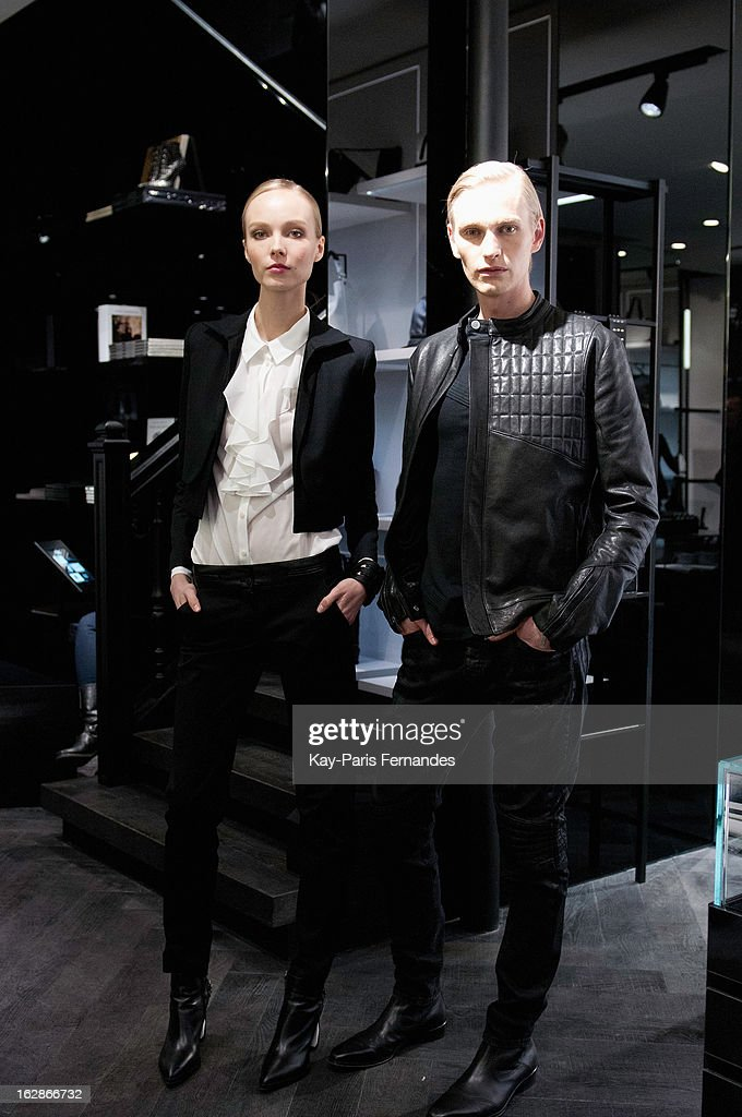Models pose durring the Karl Lagerfeld's Concept Store Opening as part of Paris Fashion Week on February 28, 2013 in Paris, France.