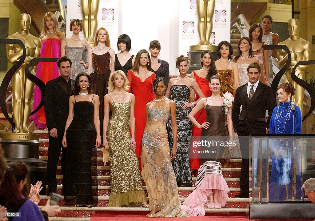 Models pose for a group photo at the 2003 Oscar Fashion Preview at the Kodak Theatre on March 4, 2003 in Hollywood, California.