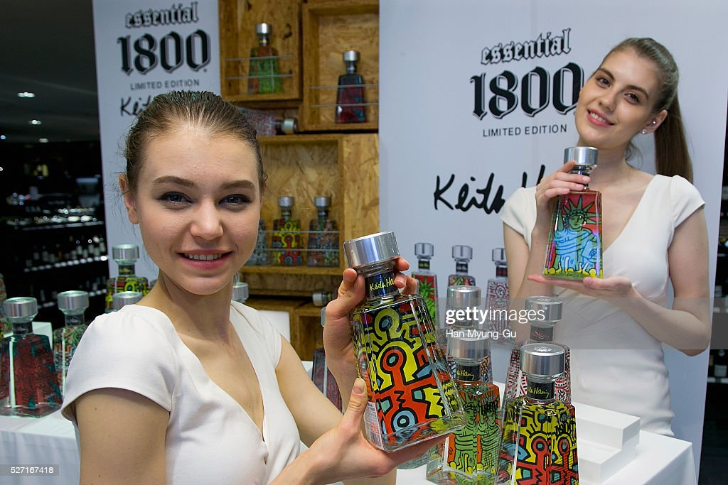 Models pose for media during the Super Premium Tequila '1800EA' Launch at Lotte Department Store on May 2, 2016 in Seoul, South Korea.