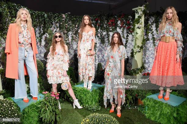 Models pose for the Alice Olivia By Stacey Bendet Presentation during September 2017 New York Fashion Week The Shows at Gallery 2 Skylight Clarkson...
