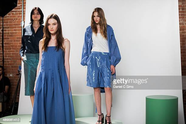 Models pose for the lookbook shoot backstage at the Tibi SS16 show part of New York Fashion Week Spring/Summer 2016 on September 12 2015 in New York...