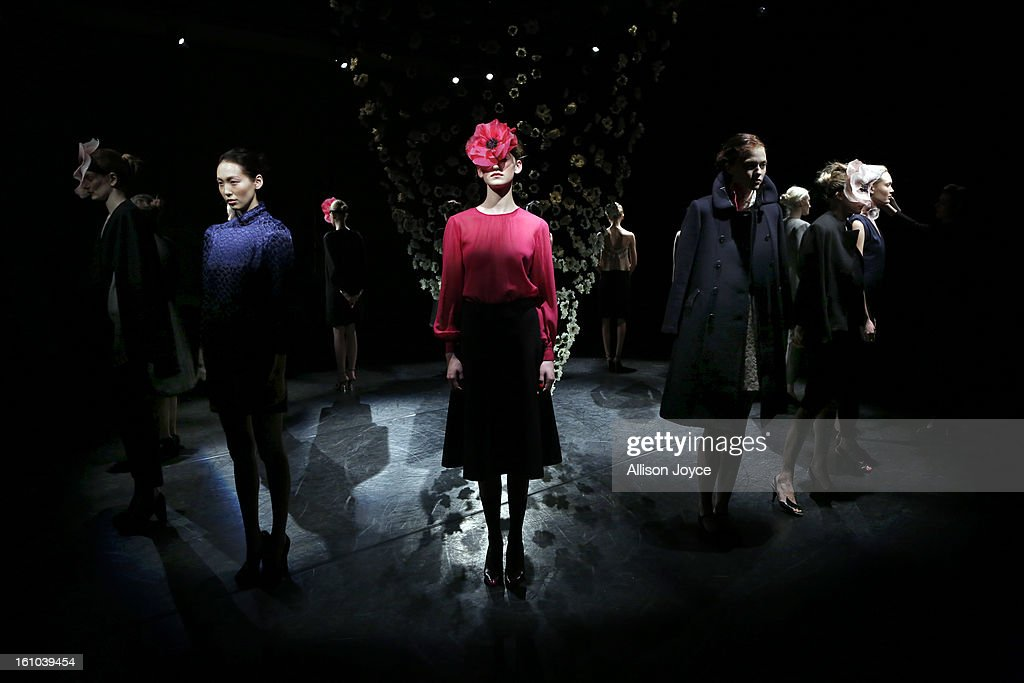 Models pose for the Tocca fall 2013 presentation during Mercedes-Benz Fashion Week at the Baryshnikov Arts Center on February 8, 2013 in New York City.