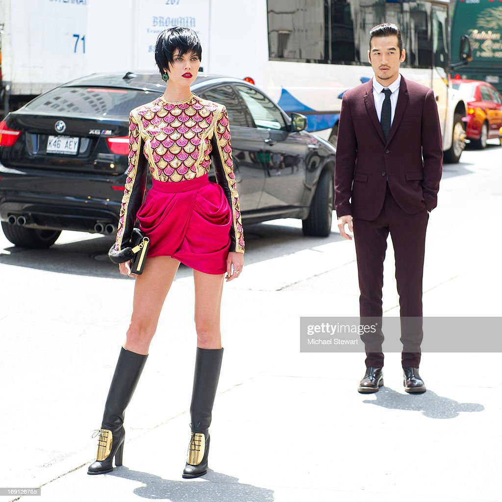Models pose for Vogue China on the streets of Manhatten on May 20, 2013 in New York City.