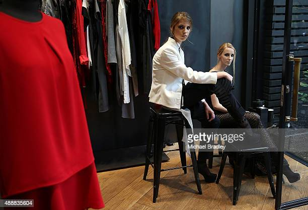 Models pose in the window of Taylor during the Britomart 'A Taste of Fashion' Progressive Lunch at the Britomart Precinct on September 18 2015 in...
