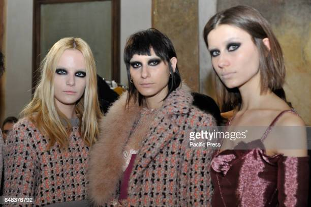 Models pose on backstage ahead of the Daizy Shely show during Milan Fashion Week Fall/Winter 2017/18