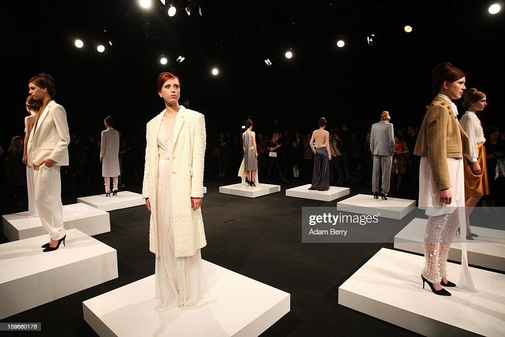 Models pose on stage at Blaenk Autumn/Winter 2013/14 fashion show during Mercedes-Benz Fashion Week Berlin at Brandenburg Gate on January 18, 2013 in Berlin, Germany.