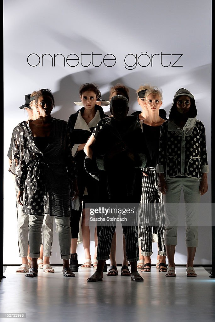 Models pose on the runway at the Annette Goertz Show during Platform Fashion Duesseldorf on July 26, 2014 in Duesseldorf, Germany.