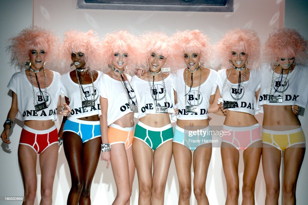 Models pose on the runway at the Betsey Johnson fashion show during Mercedes-Benz Fashion Week Spring 2014 at The Studio at Lincoln Center on September 11, 2013 in New York City.